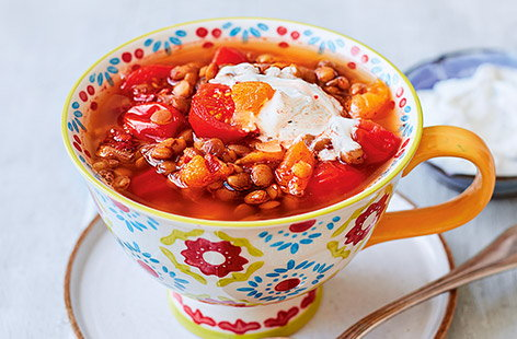 Lentil and apricot tagine