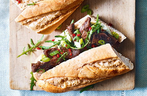 How do you improve on a classic Korean beef bulgogi stir fry? Put it between two slices of crunchy bread, slather on a layer of mayo and create a bulgogi baguette, of course. Marinate the beef ahead of time and this super sandwich can be made in less than