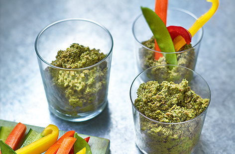 This vegan snack shows that pesto doesn't have to just be for pasta – this vibrant broccoli and sunflower seed pesto makes a brilliant healthy dip served with plenty of fresh veg crudités.