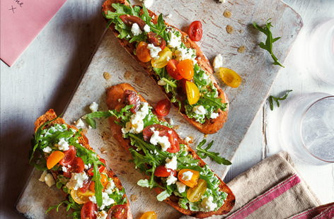 A delicious dinner for two, transport your tastebuds to the Mediterranean with these bruschetta, topped with mashed peas, tangy feta and marinated tomatoes. They take just 10 minutes to make, perfect for lazy weekday evenings