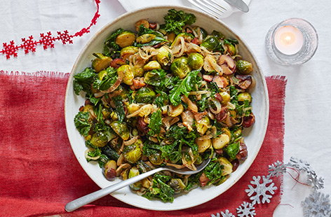 Sautéed sprouts with kale and chestnuts