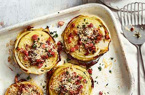 Cabbage steaks with crispy pancetta and Parmesan