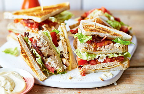 Classic chicken club sandwich