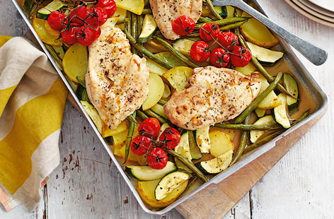 Chicken traybake with vine tomatoes and courgettes
