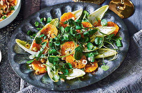 This simple winter salad recipe is packed with colour and flavour from zesty clementines, toasted hazelnuts, crunchy chicory leaves and peppery watercress. Serve up as part of a special dinner for two, or enjoy as a healthy, vegan lunch.