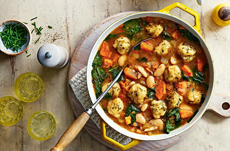 Chunky veg stew with cheesy dumplings