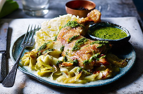 Creamy leeks with roast chicken and salsa verde