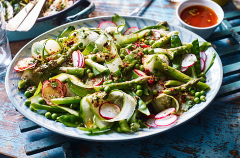 Radishes, cucumber and asparagus are just some of the gorgeous spring veggies that star in this crunchy salad, but it's the chipotle and paprika-spiced dressing that really steals the show.