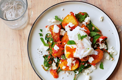 Red pepper and spinach hash