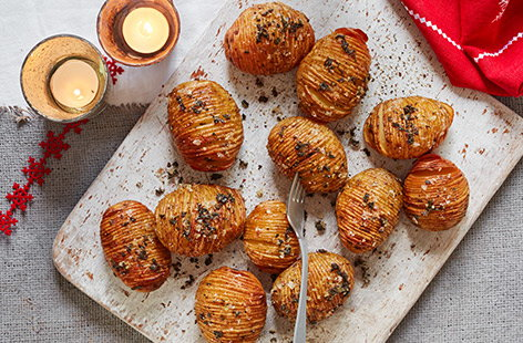 Sage and rainbow peppercorn hasselback potatoes