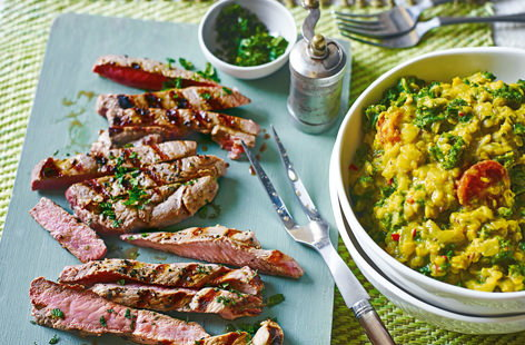 Less is more with this delicious dinner for two - succulent lamb is seasoned simply with black pepper and griddled, before being served with a richly spiced lentil, kale and tomato dhal