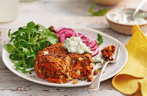 Carrot and feta burgers