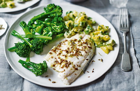 Lime and cumin sea bass with mango salsa