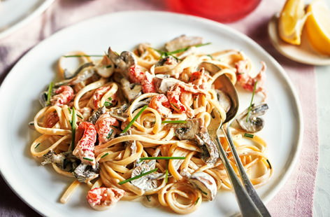 Crayfish and wild mushroom linguine