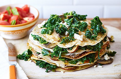 Kale and feta pancake stack