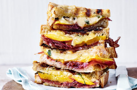 Prosciutto, nectarine and thyme grilled cheese sandwich