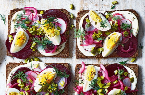 Danish open-faced rye sandwich
