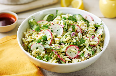 Turkish-style orzo with spring vegetables