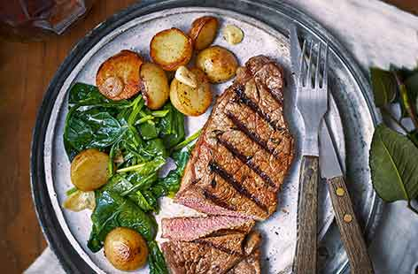 A dusting of paprika adds delicious spice to sirloin steak and crispy sautéed potatoes are the ultimate accompaniment