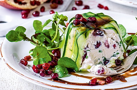 This stunning starter dish is the perfect appetiser this Christmas. Combining the fruity tastes of pomegranate and creamy ricotta and goat's cheese, friends and family will fall in love with this impressive, yet quick to make mousse recipe.