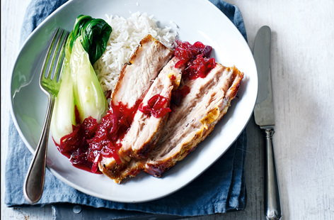 Roast pork belly with spiced plum sauce