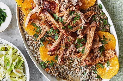 Pulled pork with mustard lentils