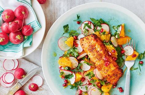 Quick healthy recipes quick meals tesco real food trout with radish orange and pomegranate salad forumfinder