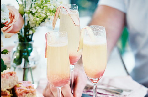 This refreshing, fun tipple is based on a classic bellini which is usually made by mixing prosecco or Champagne with peach purée. In this recipe, we top it with a fresh rhubarb purée instead; simple, sweet, tangy and beautifully bubbly
