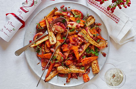 Sweet carrots and parsnips with apple, bacon, honey and thyme: what's not to love about this colourful Christmas side dish?