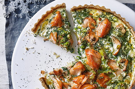 Smoked salmon and potato tart