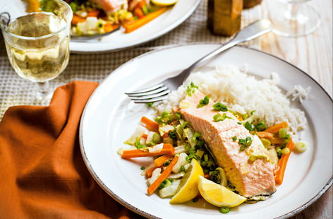 Baked ginger salmon with sherry