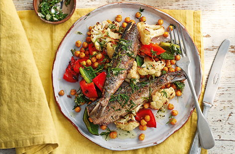 Sardines with roasted cauliflower and lime gremolata