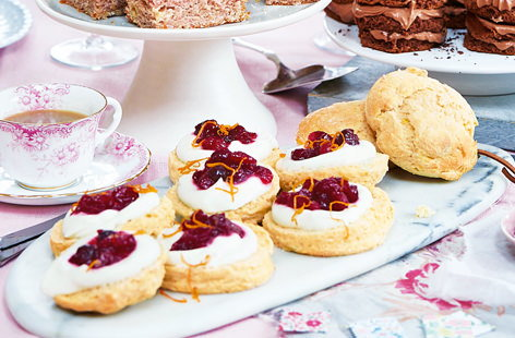 Not your average scone recipe – these Cosmo cocktail-inspired bakes are topped with a cranberry compote and flavoured with orange and lime for a delicious spin on the afternoon tea classic.