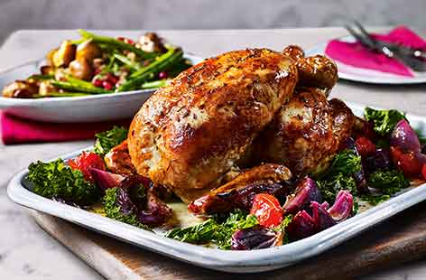 Spiced roast chicken with crushed potatoes