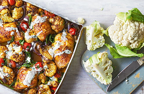Spiced chicken and cauliflower traybake