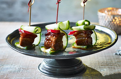 Sticky pork belly skewers