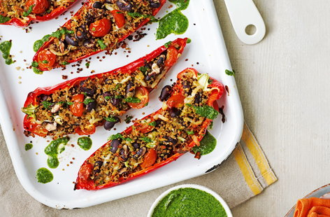Quinoa and halloumi stuffed ramiro peppers with salsa verde