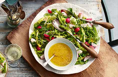 This light side dish is a delicate spring combination of peas, lettuce and sugar snaps tossed in a bold mustard dressing – a welcome accompaniment to any Easter buffet.