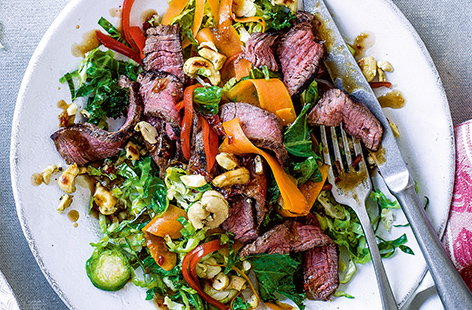 Thai beef and sprout stir-fry with salt and pepper cashews