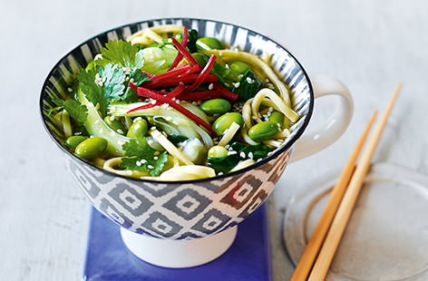 Miso greens noodle pot