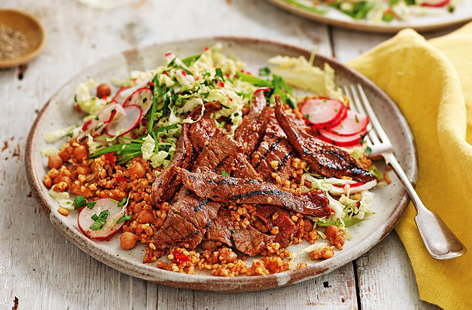 Marinated in massaman curry paste and served with a chilli-spiked slaw of Chinese leaf, mangetout and radishes, these Thai-inspired steaks make for one flavour-packed supper