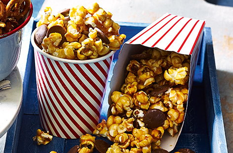 Cinder toffee and chocolate popcorn