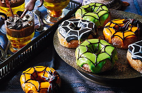 Make your Halloween party extra terrifying with these spooked-up spiderweb doughnuts. With just a little icing and lots of creepy colouring, you can transform simple doughnuts into the ultimate Halloween party treat