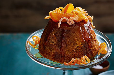 Orange, clove and ginger treacle sponge