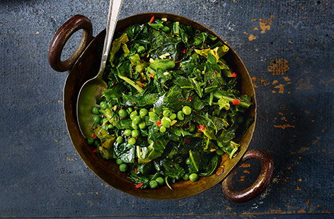 Stir-fried chilli greens