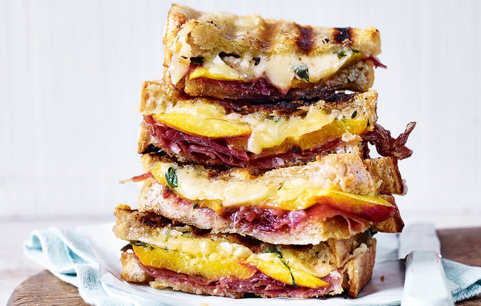 Prosciutto, nectarine and thyme cheese sandwich