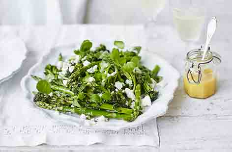 Make the most of seasonal asparagus and purple sprouting broccoli with this gorgeous salad recipe