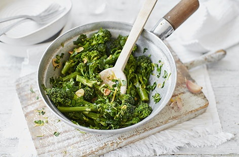 Purple sprouting broccoli with parsley butter