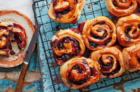 Cherry and cardamom swirls