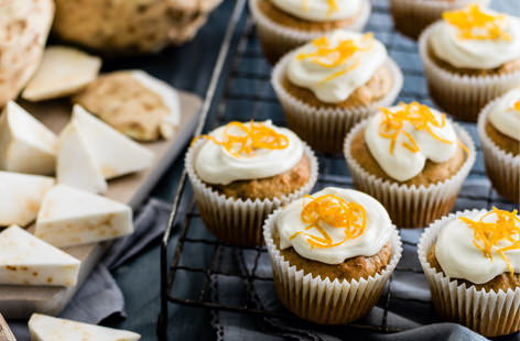 Celeriac and walnut muffins with cream cheese frosting